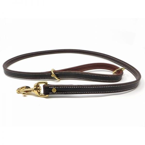 K-9 Komfort Dark Brown Latigo with Rust Cow Hide Premium Deluxe Leather Lead