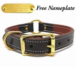 K-9 Komfort 1 Inch Dark Brown Latigo with Rust Cow Hide Premium Deluxe Leather Center Ring Collar