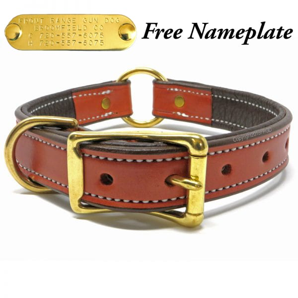 K-9 Komfort 1 Inch Tan Skirting with Dark Buffalo Liner Premium Deluxe Leather Center Ring Collar