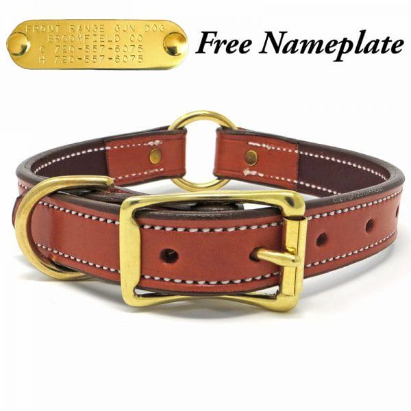 K-9 Komfort 1 Inch Tan Skirting with Burgundy Latigo Premium Deluxe Leather Center Ring Collar