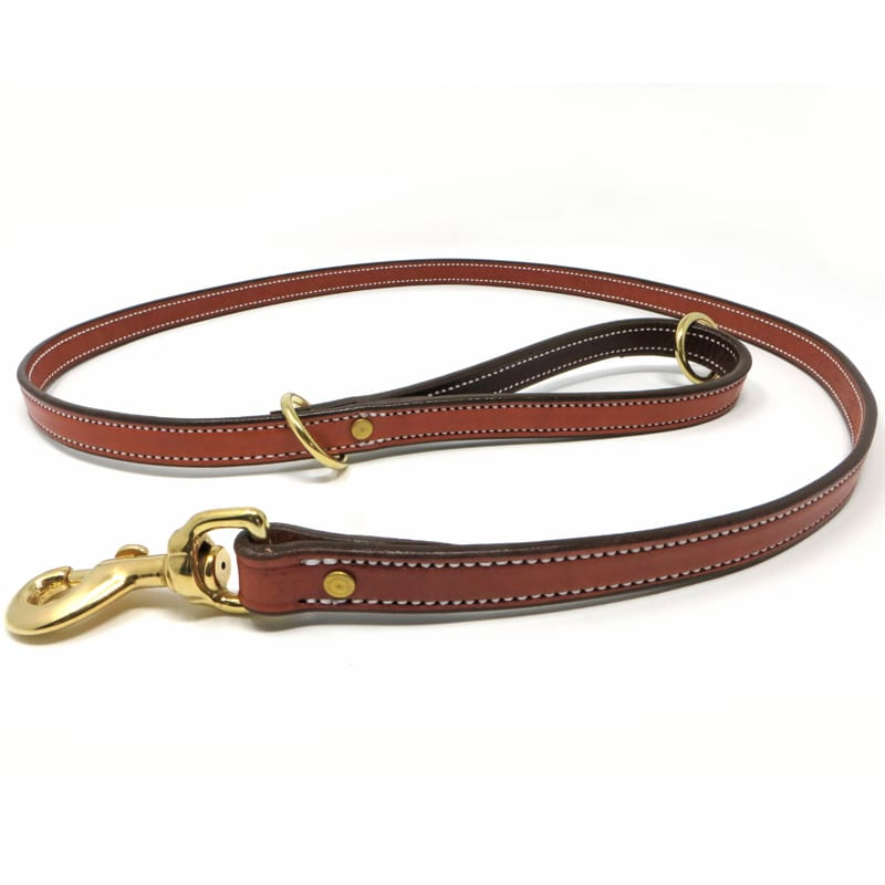 K-9 Komfort Tan Skirting with Burgundy Latigo Premium Deluxe Leather Lead