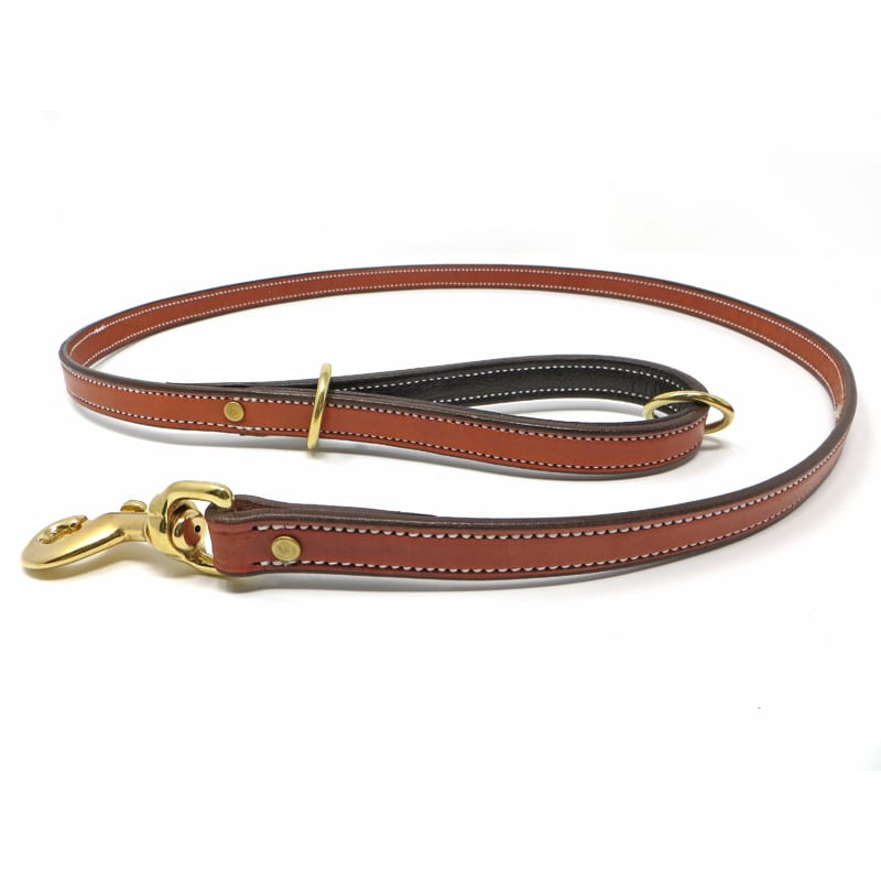 K-9 Komfort Tan Skirting with Dark Buffalo Premium Deluxe Leather Lead 4.5 ft and 6 ft