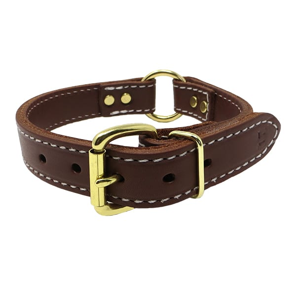 1 Inch 2 Ply Leather Center Ring Collar Brass